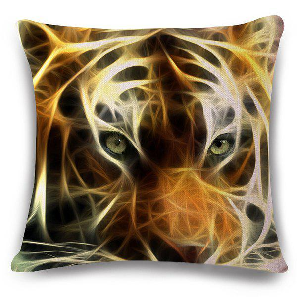 Fashion 3D Tiger Pattern Square Shape Flax Pillowcase (Without Pillow Inner)