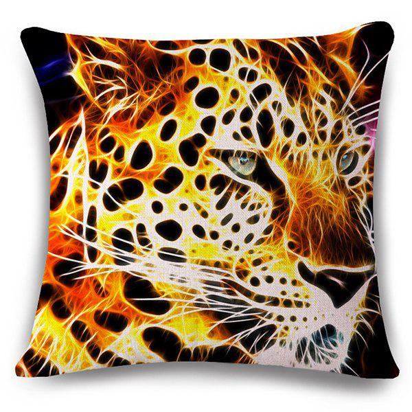 Stylish 3D Leopard Pattern Square Shape Flax Pillowcase (Without Pillow Inner) - COLORMIX