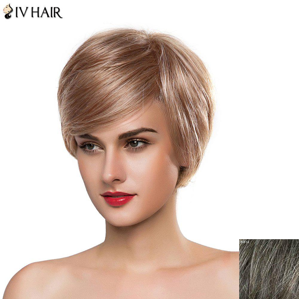 Noble Straight Human Hair Capless Short Fashion Style Side Bang Siv Hair Wig For Women