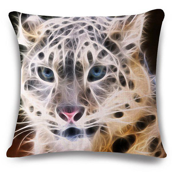 Stylish 3D White Leopard Pattern Square Shape Flax Pillowcase (Without Pillow Inner) - COLORMIX