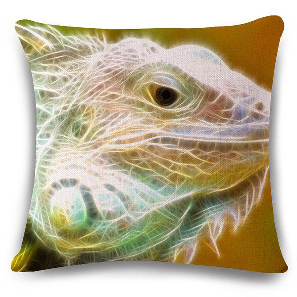 Stylish 3D Lizard Pattern Square Shape Flax Pillowcase (Without Pillow Inner)
