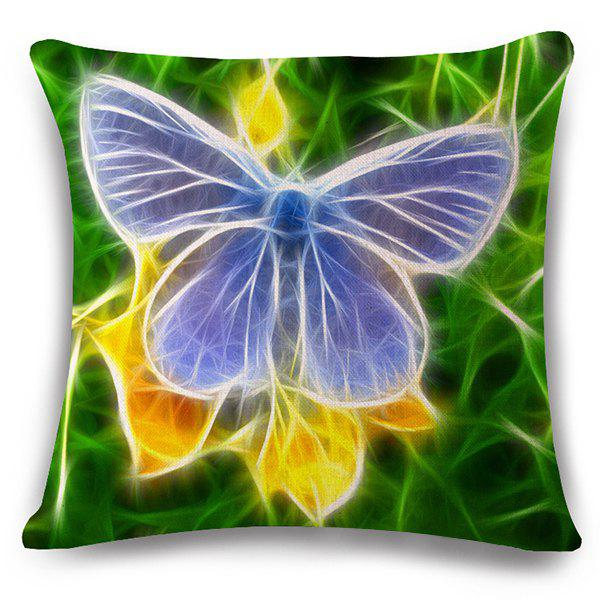 Stylish 3D Butterflies Pattern Square Shape Flax Pillowcase (Without Pillow Inner) - COLORMIX