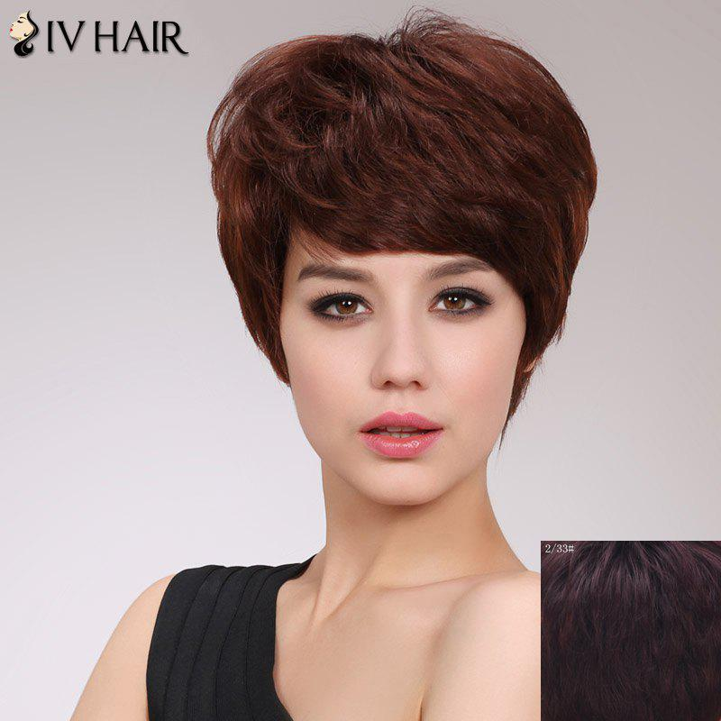 Classic Straight Capless Siv Hair Short Hairstyle Layered Human Hair Wig For Women - RED MIXED BLACK