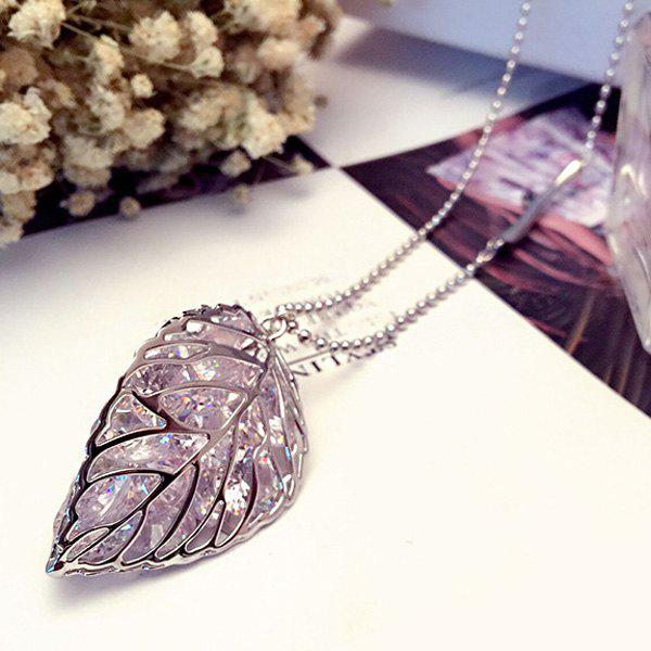 Fashionable Leaf Shape Pendant Sweater Chain - SILVER