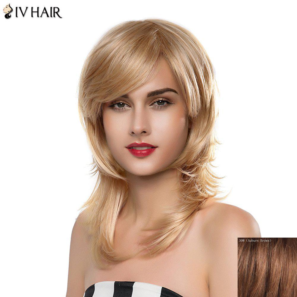 Shaggy Natural Straight Siv Hair Trendy Long Layered Side Bang Women's Human Hair Wig