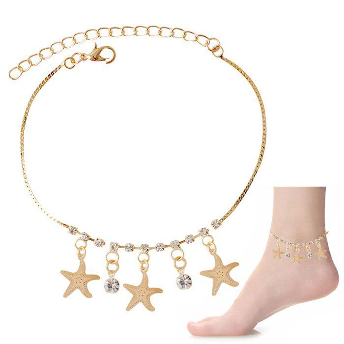 Starfish Tassel Rhinestone Charm Girl Foot Bracelet - GOLDEN