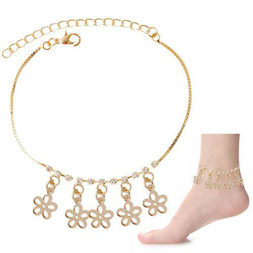 Delicate Rhinestone Hollow Out Flower Foot Bracelet - GOLDEN