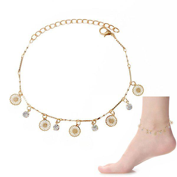 Delicate Faux Zircon Hollow Out Anklet For Women - GOLDEN