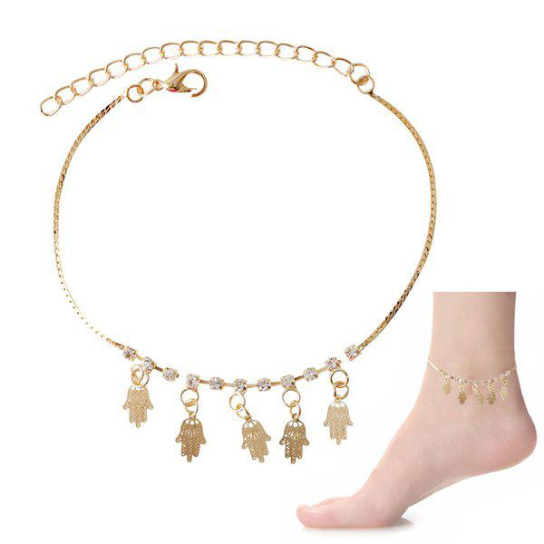 Delicate Faux Zircon Hollow Out Palm Foot Bracelet - GOLDEN