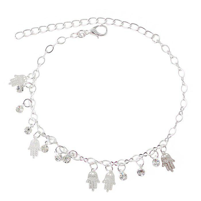 Delicate Faux Zircon Hollow Out Palm Anklet For Women - SILVER