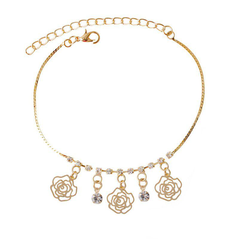 Rhinestone Hollow Out Rose Charm Foot Bracelet - GOLDEN