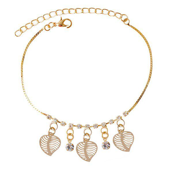 Delicate Faux Zircon Hollow Out Leaf Anklet For Women - GOLDEN