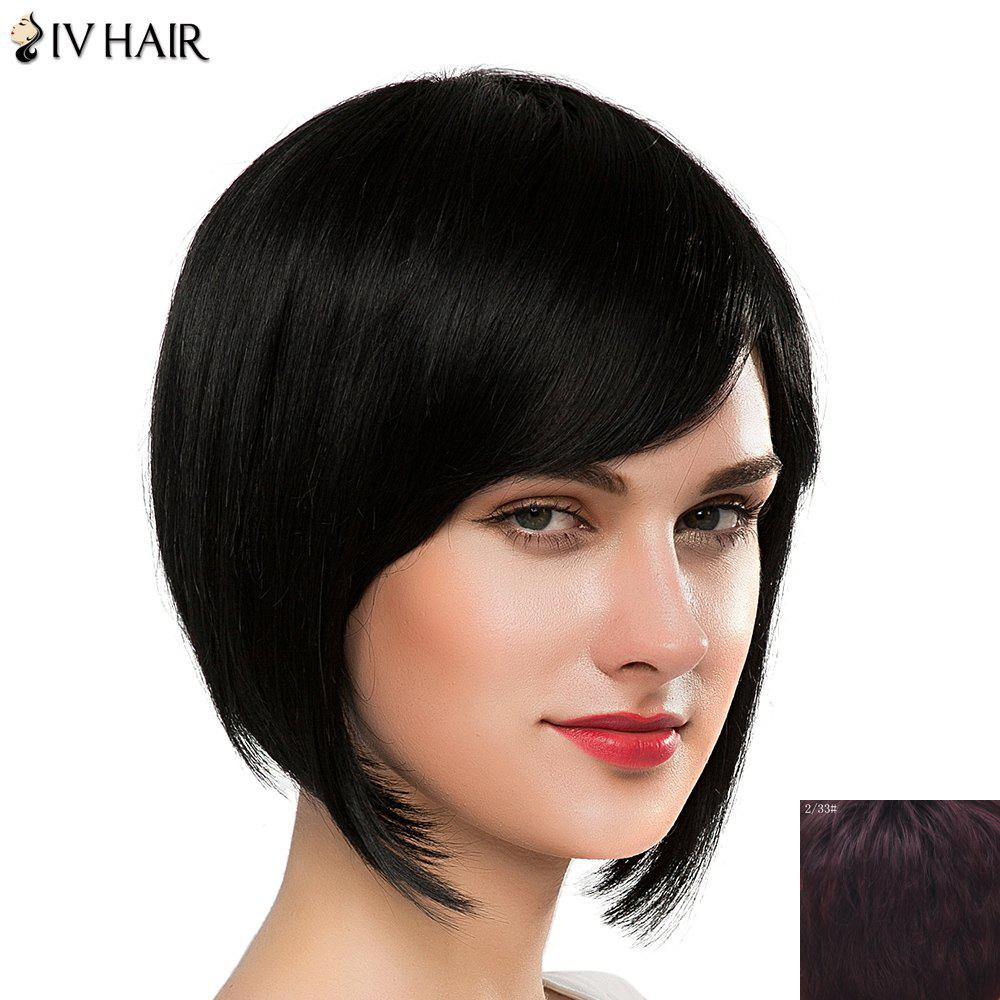 Stylish Side Bang Straight Human Hair Bob Hairstyle Short Siv Hair Capless Wig For Women - RED MIXED BLACK