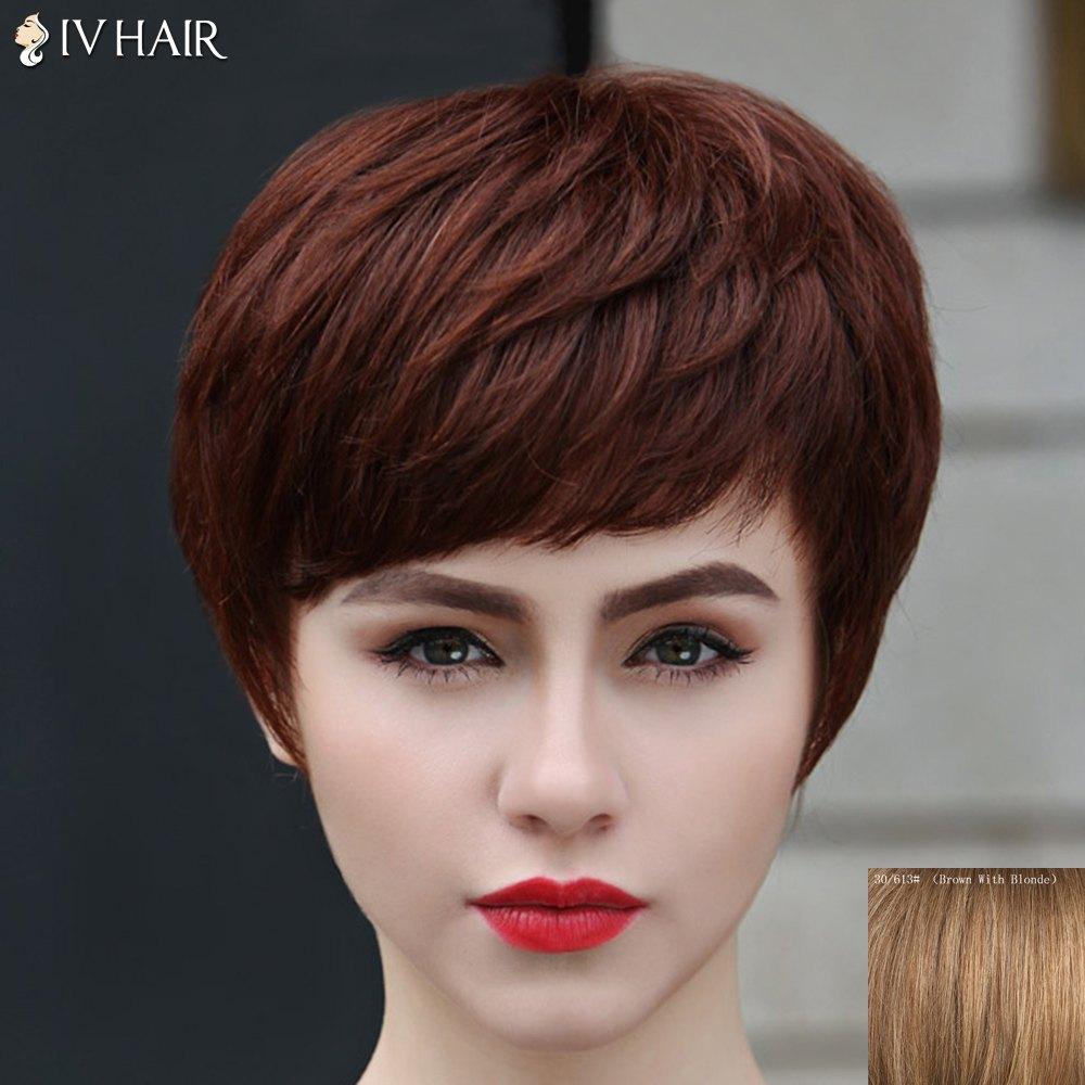 Fashion Style Short Layered Capless Straight Siv Hair Women's Human Hair Wig - BROWN/BLONDE