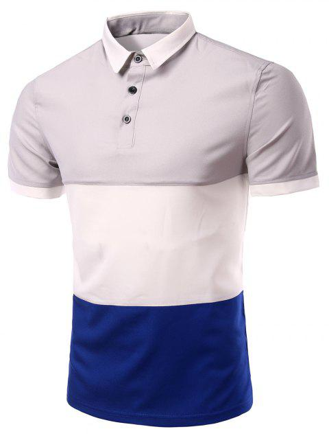 Men 's  Collar élégant Stripes Turn-down Color Block T-shirt court manches Polo - Gris 2XL