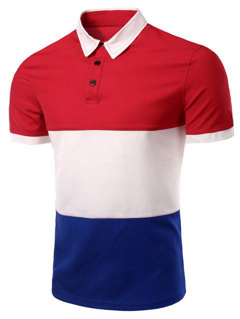 Men 's  Collar élégant Stripes Turn-down Color Block T-shirt court manches Polo - Rouge L