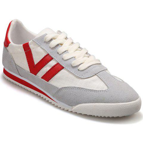 Fashionable Splicing and Hit Color Design Men's Casual Shoes - GRAY/RED 43