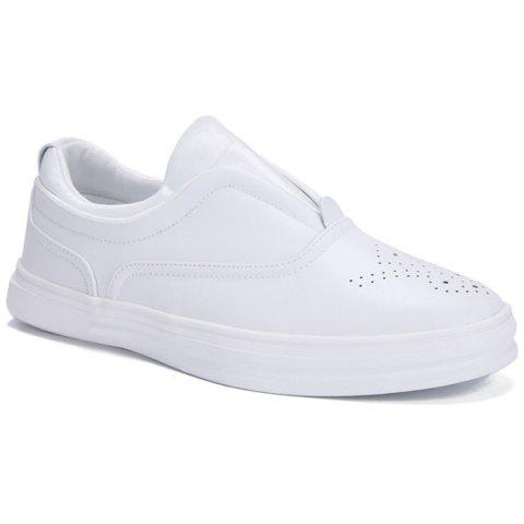 Stylish Solid Colour and Breathable Design Men's Casual Shoes - WHITE 44