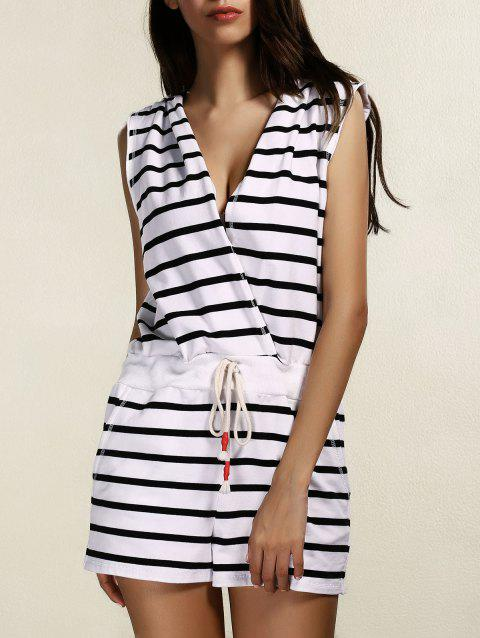 Stylish Women's Striped Hooded Cover-Up Romper - BLACK L