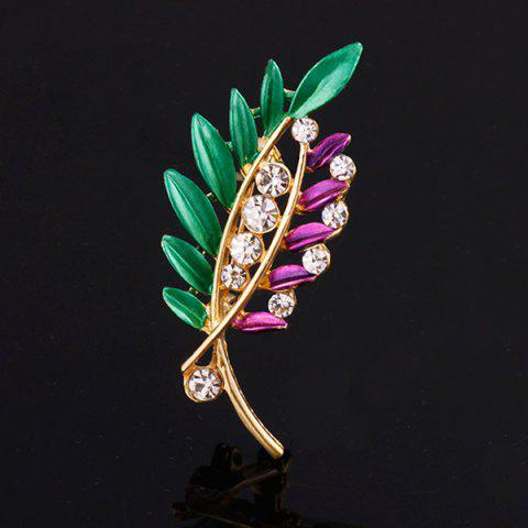 Rhinestone Branch Leaf Brooch - PURPLE