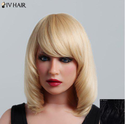 Fluffy Natural Straight Capless Human Hair Noble Medium Side Bang Women's Siv Hair Wig - BLACK