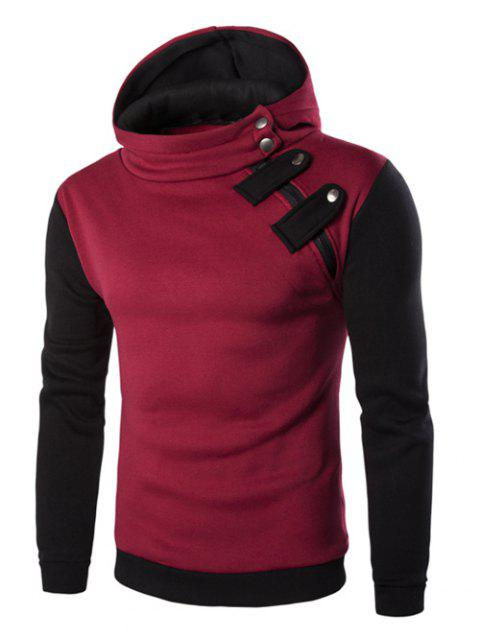 Inclined Zipper Color Block Hooded Long Sleeves Men's Hoodie - RED XL