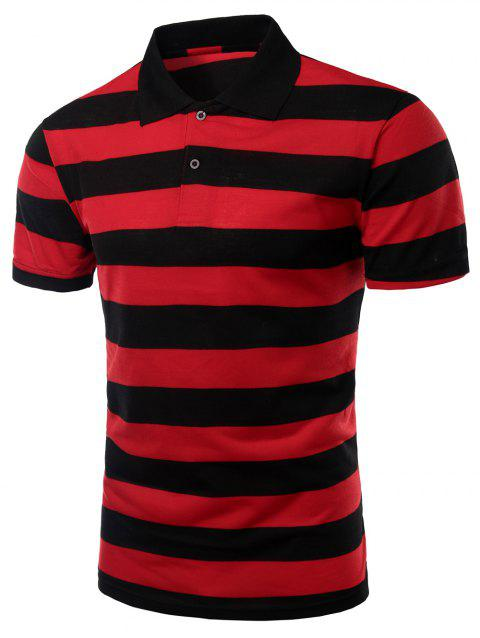Men's Stripes Turn-down Collar Short Sleeves T-Shirt - RED 3XL
