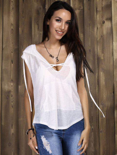 Sexy Women's Hooded Cowl-back Tunics - WHITE S