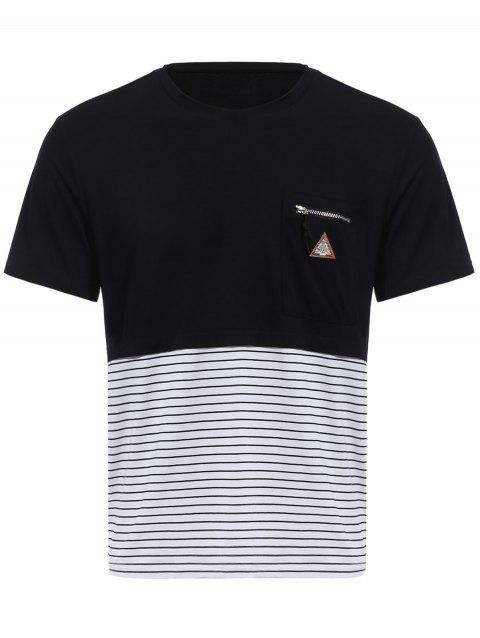 Vogue Round Neck Zipper Color Block Stripes Spliced Men's Short Sleeves T-Shirt - BLACK 3XL