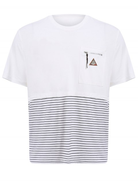Vogue col rond Zipper Color Block Stripes Spliced ​​Men  's manches courtes T-shirt - Blanc 2XL