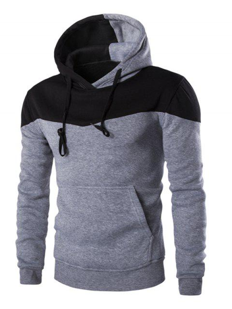 IZZUMI Classic Color Block Front Pocket Hooded Long Sleeves Men's Hoodie - LIGHT GRAY XL