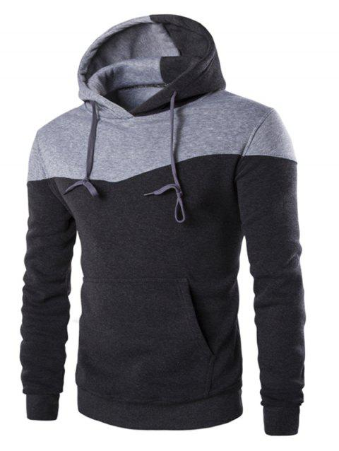 IZZUMI Classic Color Block Front Pocket Hooded Long Sleeves Men's Hoodie - DEEP GRAY 2XL