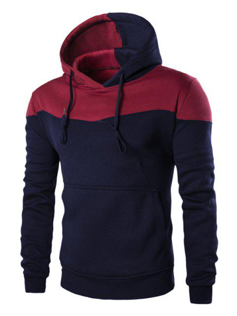 IZZUMI Classic Color Block Front Pocket Hooded Long Sleeves Men's Hoodie - CADETBLUE XL