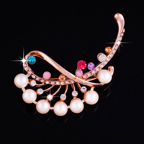 Faux Pearl Gem Rhinestone Brooch - ROSE GOLD
