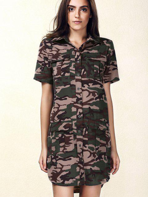 Élégant manches courtes single-breasted femmes s 'Camo Dress - Camouflage XL
