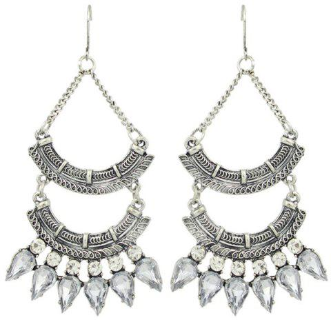 Pair of Charming Faux Crystal Fan-Shaped Earrings For Women - SILVER