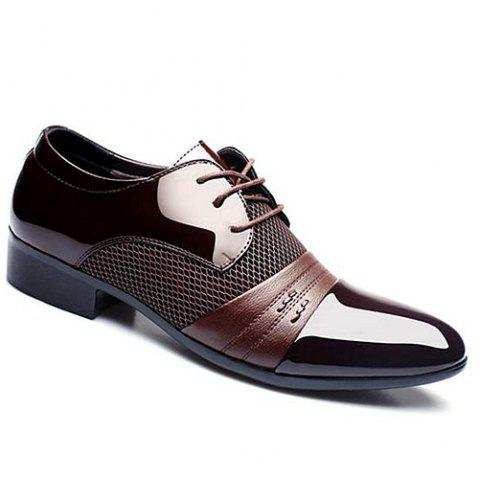 Stylish Splicing and Pointed Toe Design Men's Formal Shoes - BROWN 44