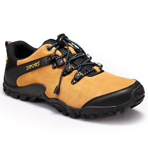 Trendy Hit Color and Lace-Up Design Men's Athletic Shoes - LIGHT BROWN 44