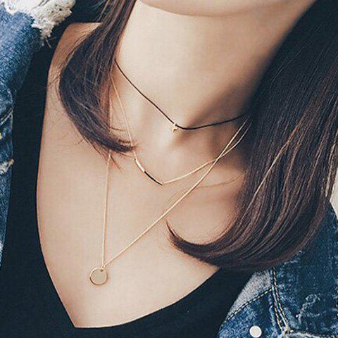 Chic Simple Style Pentagram Round Geometric Multi-Layered Necklace For Women - GOLDEN
