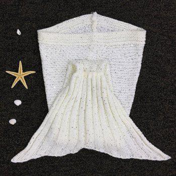 Chic Sequins Embellished Fish Tail Shape Sleeping Bag Mermaid Design Knitting Blanket -  WHITE