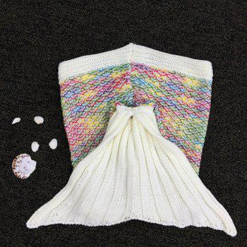 Chic Fish Scale Tail Shape Sleeping Bag Mermaid Design Colorful Knitting Blanket - COLORFUL