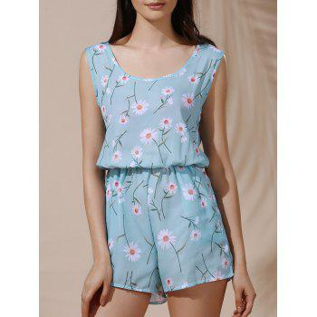 Refreshing Women's Scoop Collar Sleeveless Daisy Print Chiffon Romper