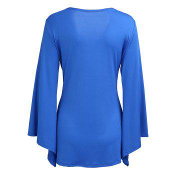 Knotted Flare Long Sleeve Tunic Top - BLUE L