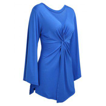 Knotted Flare Long Sleeve Tunic Top - BLUE 3XL
