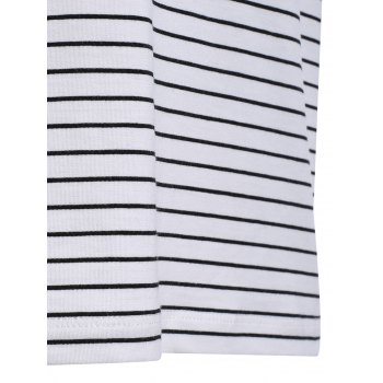 Vogue col rond Zipper Color Block Stripes Spliced ​​Men  's manches courtes T-shirt - Noir XL
