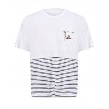 Vogue Round Neck Zipper Color Block Stripes Spliced Men's Short Sleeves T-Shirt