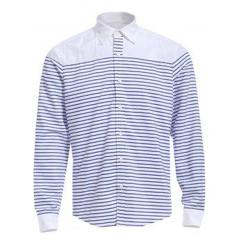 Refreshing Turn-down Collar Color Block Long Sleeves Men's Striped Shirt