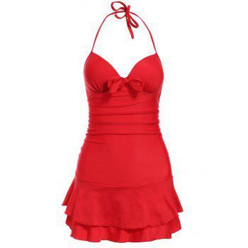 Buy Attractive One-Piece Halter Neck Push-Up Solid Color Women's Swimwear RED
