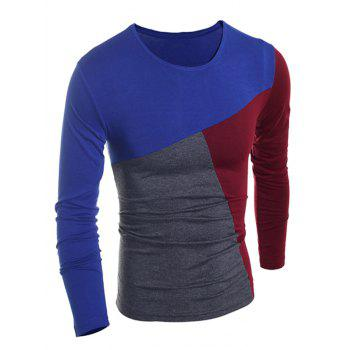 Fashionable Round Neck Classic Color Splicing Slimming Long Sleeves Men's T-Shirt - CADETBLUE 2XL