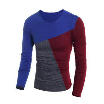 Fashionable Round Neck Classic Color Splicing Slimming Long Sleeves Men's T-Shirt - 2XL 2XL